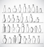 Sketch bottles collection. Hand-drawn with ink. Vector illustration Royalty Free Illustration