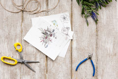 Sketch of bouquet. Floristry workshop, tools Stock Photo