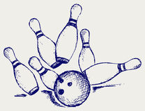 Sketch bowling. Doodle style. Vector Royalty Free Stock Photography