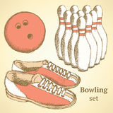 Sketch bowling set in vintage style Stock Images