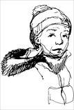 Sketch of a boy in a cap and a jacket with a hood Stock Images