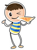 A sketch of a boy eating a pizza Royalty Free Stock Photos
