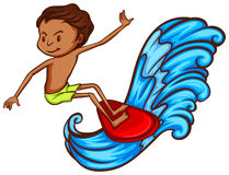 A sketch of the boy enjoying the waves Royalty Free Stock Photos