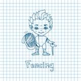 Sketch Boy Fencer Royalty Free Stock Images
