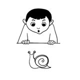 SKETCH.Boy is looking  to the snail. Royalty Free Stock Images