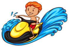 A sketch of a boy riding a water vehicle Stock Photography