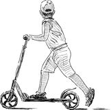 Sketch of boy on scooter Stock Photo