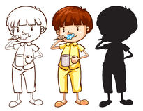 A sketch of a boy toothbrushing in different colours Royalty Free Stock Photos