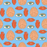 Sketch brain, heart, lips, eye in vintage style Royalty Free Stock Photos