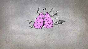 Sketch of brain and icons stock illustration