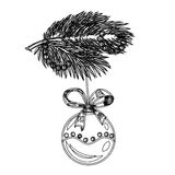 Sketch branch of a Christmas tree decoration ball Stock Photo