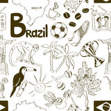 Sketch Brazil seamless pattern Royalty Free Stock Photo