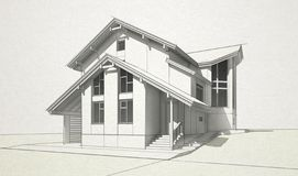 Sketch brick and timber house stock illustration