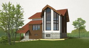 Sketch brick and timber house vector illustration