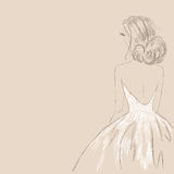 Sketch of the bride. Vector Illustration Royalty Free Stock Image