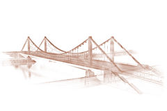 Sketch of a bridge. 3d wireframe render of a bridge in sepia Royalty Free Stock Image