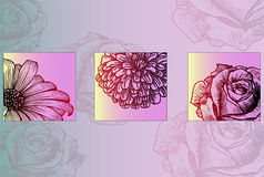 Sketch of bright beautiful flowers - ready to print poster Stock Images