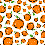 Sketch bright orange seamless pattern. Royalty Free Stock Images