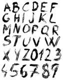 Sketch brush alphabet. Black sketch alphabet isolated on white background Royalty Free Stock Image