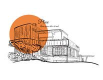 Sketch of a building with orange circle on the background with text. Royalty Free Stock Photos