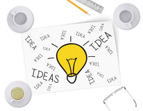 Sketch bulb on white sheet of paper. Full and Stock Images