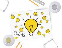 Sketch bulb on white sheet of paper. Full and Stock Photos