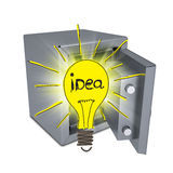 Sketch bulbs in open safe Royalty Free Stock Images