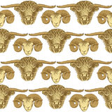 Sketch bull and ram head in vintage style Stock Image