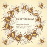 Sketch bumble bee in vintage style. Vector background Stock Photos