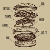 Sketch burger by layers. Vector Stock Photo