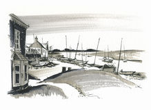 Sketch of Burhham Overy Harbour, Norfolk, UK Royalty Free Stock Image