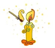 A sketch of a burning match and candle. Vector illustration fire. Flame candlelight Royalty Free Stock Photo