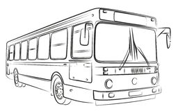 Sketch of bus. A sketch of a large passenger bus Stock Photo