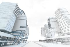 Sketch of the business center. From drawing to implementation Royalty Free Stock Image