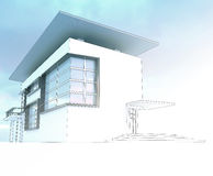 Sketch of the business center. From drawing to implementation Royalty Free Stock Images