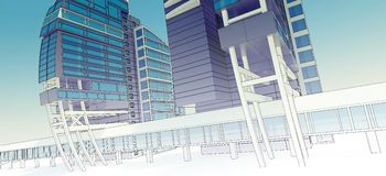 Sketch of the business center. From drawing to implementation Royalty Free Stock Photography