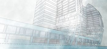 Sketch of the business center. From drawing to implementation Royalty Free Stock Photo