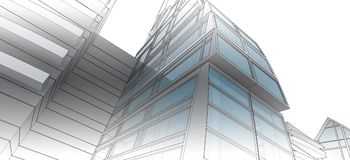 Sketch of the business center. From drawing to implementation Royalty Free Stock Photos