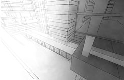 Sketch of the business center. Stock Photo