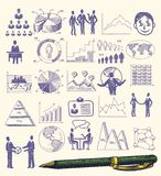 Sketch business composition. Sketch business organization management concept icons set with hand drawn pen isolated vector illustration Stock Photos