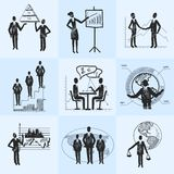 Sketch business composition. Sketch business people organization management composition icons set isolated doodle vector illustration Stock Photography