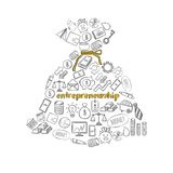 Sketch Business Economic Composition. With financial elements in shape of money bag on white background isolated vector illustration Stock Photography