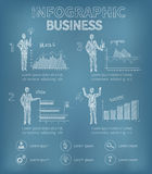 Sketch Business Infographics. Business infographics set with strategy graphs and personnel vector illustration Royalty Free Stock Image