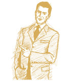 Sketch Business Man Shows Something With Finger Royalty Free Stock Images