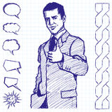 Sketch Business Man Shows Well Done Stock Images