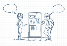 Sketch Business Man And Woman Talking Drinking Coffee Standing At Vending Machine Doodle Over Squared Paper Background. Vector Illustration Stock Photos