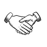 Sketch of business partnership handshake Royalty Free Stock Photography