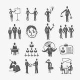 Sketch business people. Sketch business organization management structure meeting people icon set isolated doodle vector illustration Stock Image