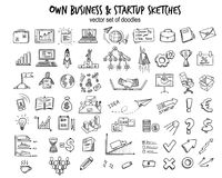 Sketch Business Startup Elements Collection. With doodle financial icons tools objects and equipment isolated vector illustration Stock Images