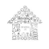 Sketch Business Success Concept. With financial elements in shape of house on white background isolated vector illustration Stock Photo